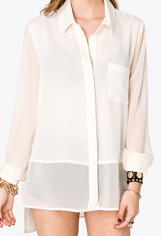 Forever 21 Sheer Paneled Shirt