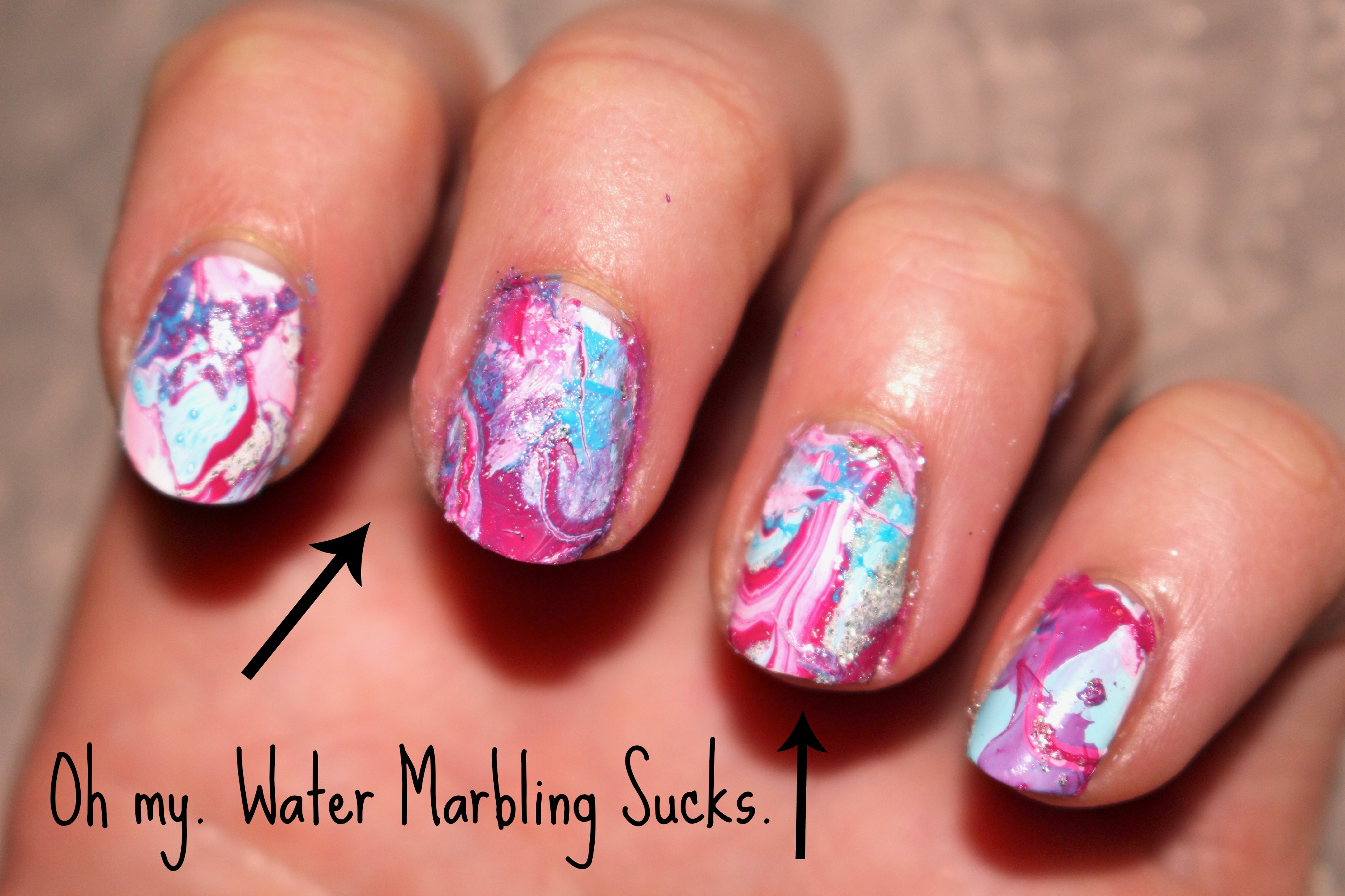 Water Marbling Can Suck It Water Nail Art