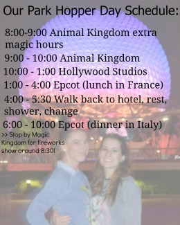 Park Hopper Schedule